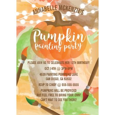 These invitations are cute, modern and colorful and great invitations for a pumpkin painting party. The design features an artistic pumpkin, with watercolors and twinkle lights in the background. There are paint brushes to represent paint. The design is pretty and will be a good fit for any age.