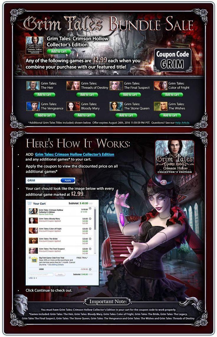 Grim Tales Bundle Sale! Buy Grim Tales 11: Crimson Hollow Collector's Edition and get previous Grim Tales SV games for $2.99! Use code GRIM at checkout. Offer valid August 25-26, 2016. #sale #bundlesale #grimtales #game #hiddenobject  http://www.bigfishgames.com/games/11561/grim-tales-crimson-hollow-collectors-edition/?channel=affiliates&identifier=af5dc3355635