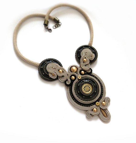Beige  old gold necklace soutache OOAK statement by sutaszula
