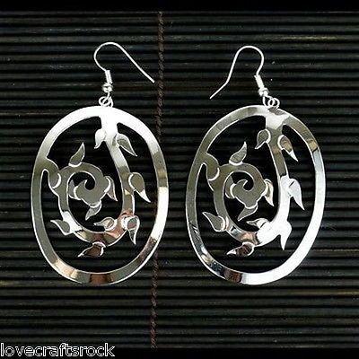 Silver-Fashion-Earrings-Long-Drop-Dangling-Plated-Handmade-Hypoallergenic-Vine