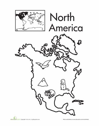 Worksheets: Color the Continents: North America