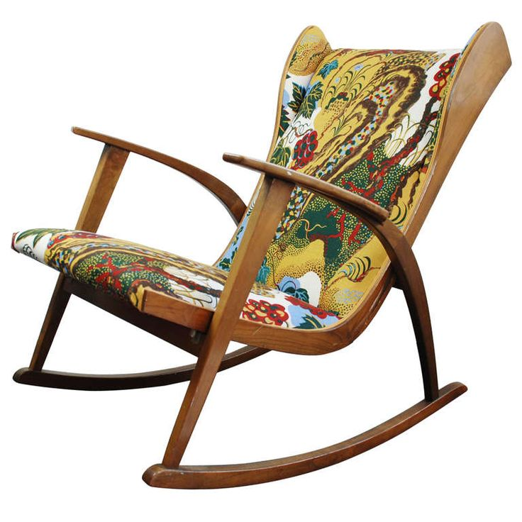 Walter Knoll Antimott rocking chair, new fabric Josef Frank 1945 | From a unique collection of antique and modern rocking chairs at http://www.1stdibs.com/furniture/seating/rocking-chairs/