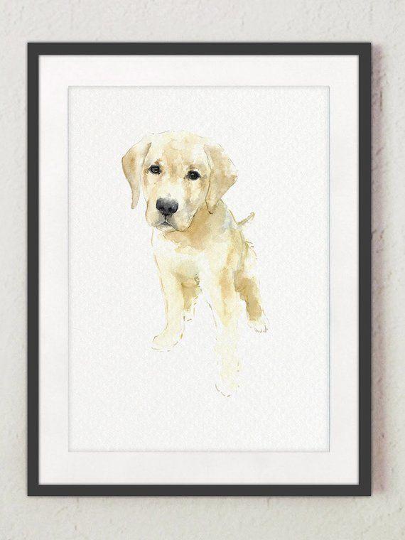 Labrador Golden Retriever Painting Yellow Kids Room Decor Flat