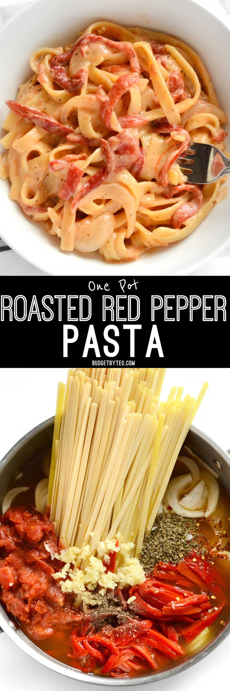 This smoky, sweet, and creamy One Pot Roasted Red Pepper Pasta cooks in one single pot and can be on the table in about 30 minutes. BudgetBytes.com