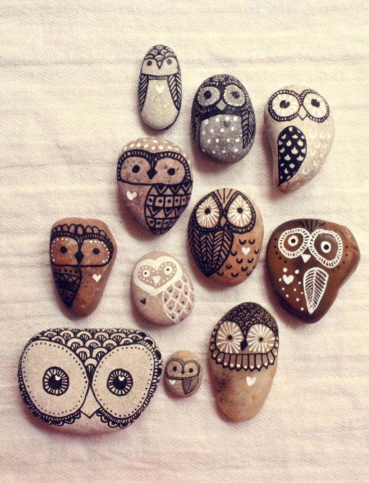 Hand Painted Rock Owls