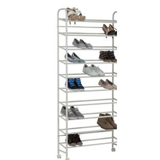 buy home 10 tier rolling shoe rack white at argoscouk