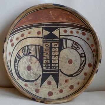"Transitional Polacca polychrome bowl with a Sikyatki-revival ""eagletail"" design by Nampeyo, circa 1895."