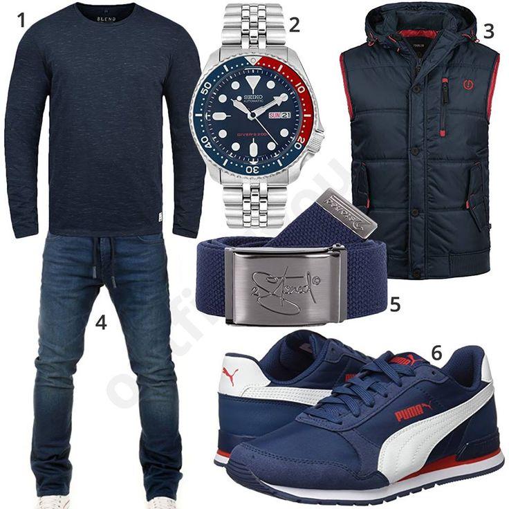 Dunkelblaues Herrenoutfit mit Jeans, Pullover und Weste