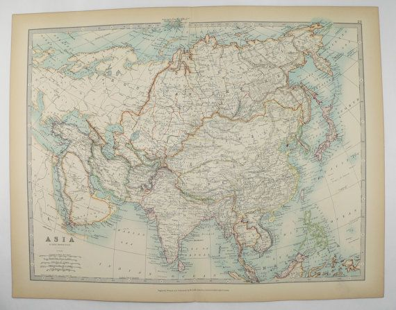 Antique Asia Map 1905 Johnston Map of Asia, China Map, Japan, India Map Middle East, Russian Empire Map, Unique Office Art Gift, Asian Decor available from OldMapsandPrints.Etsy.com #Asia #MiddleEast #RussianEmpire