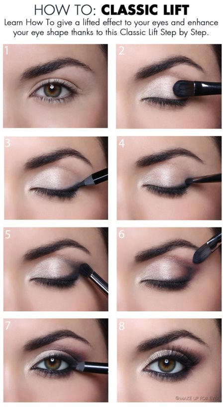 http://www.makeupforever.com/  This tutorial is perfect for eyes that have fallen corners or just look tired. You know when you are tired, you have dark circles and your entire face seems to be fallen. Using a few makeup tricks you can actually lift up the corners of your eyes with using dark eye...