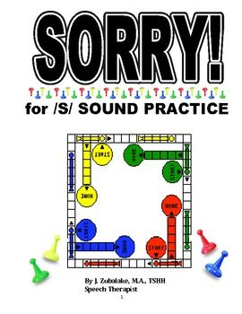 SORRY! Game Cards for /S/ SOUND PRACTICE- Speech Therapy
