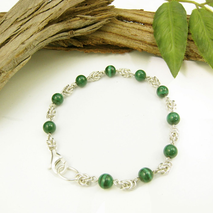 Malachite and sterling silver chain maille bracelet by Gemtation Jewellery