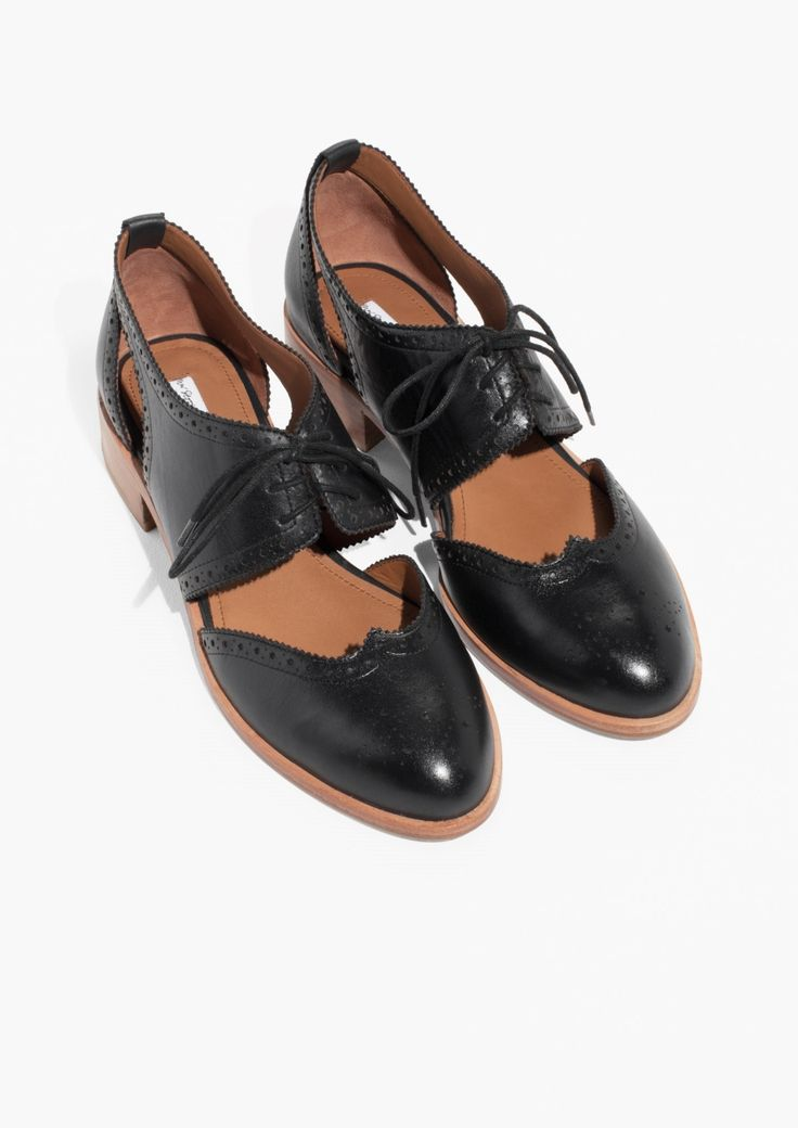 & Other Stories image 2 of Cut Out Leather Brogues in Black