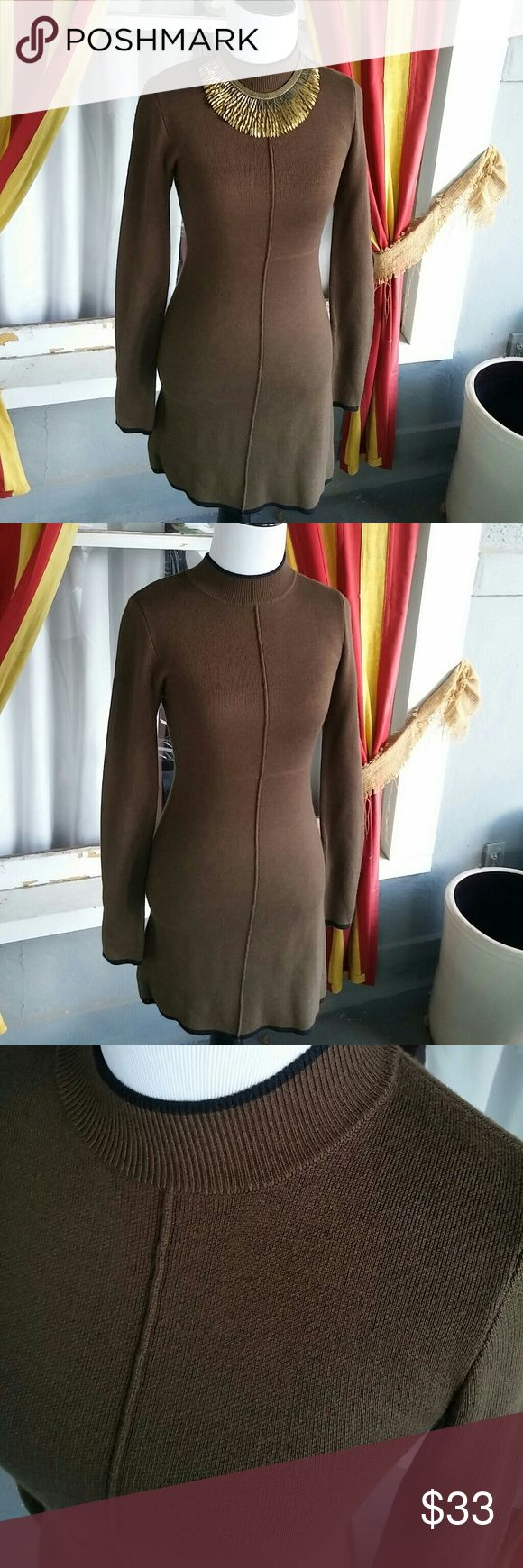 Romeo + Juliet Couture sweater dress This is a beautiful Romeo + Juliet Couture olive green sweater dress with black trim size small military Romeo & Juliet Couture Dresses Long Sleeve