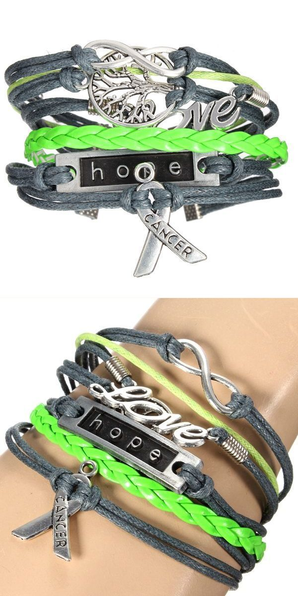 Retro Multilayer Love Tree Infinity Hope Leather Bracelet I Am N