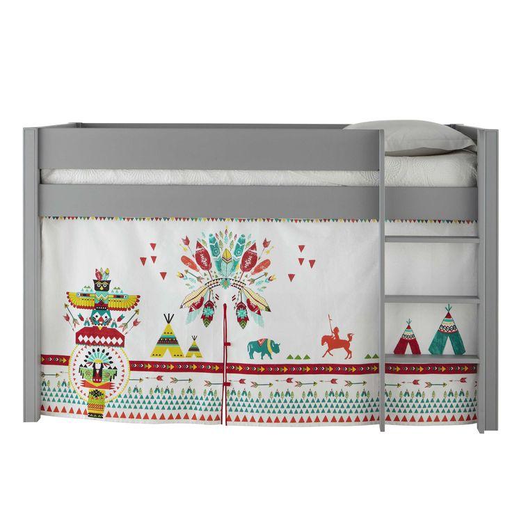 3 rideaux de lit enfant en coton multicolore L 94 à 200 cm FARWEST