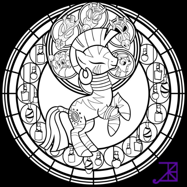 Stained Glass Zecora Line Art Sans Smoke By Akili Amethyst Find This Pin And More On Disney Other Favorite Characters Coloring Pages