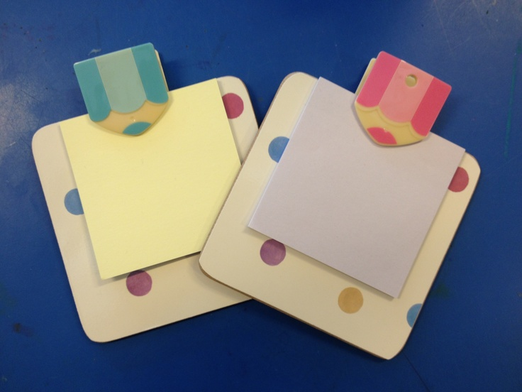 Coasters as post it note clipboards! So cute!  Love the binder clips!