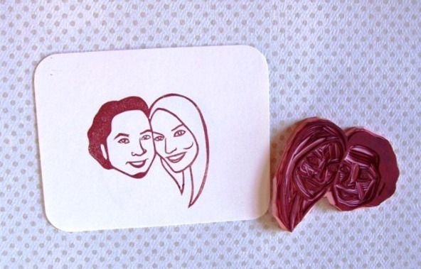 You can have your face carved into a rubber stamp!  Awesome idea for invitations!: Faces, Happiness Is, Customized Face, Stamps, Awesome Idea, Bp Ideas