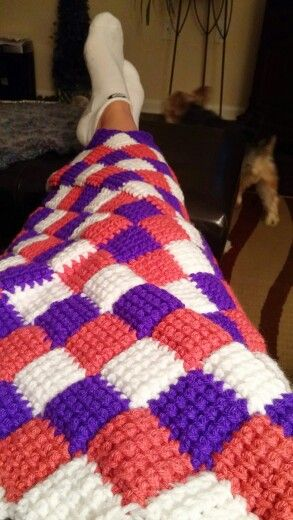 Keeping warm while crocheting it