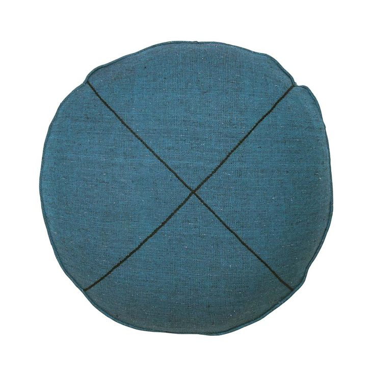 Teal Khadi Round Cushion