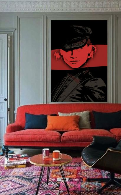 Eames chair with modern couch & kilim rug + pop art | via Handsome Sexy Man Rooms ~ Cityhaüs Design