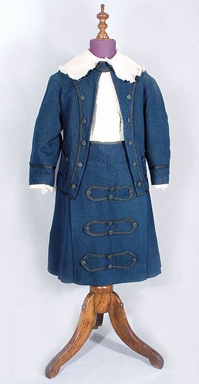 Boys wool suit, c.1870 		   In the Victorian world, little boys under age six often wore skirts.  In The Butterick Pattern Catalog of 1873, I found patterns (costing 20 cents) for  boys kilt-style suits identical in style to this one. 	The picture below from Harpers Bazar (1871) shows suitable attire for a little boy 3-5 years old.