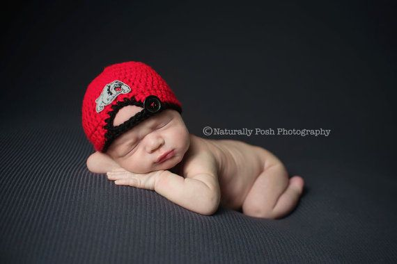 Georgia Bulldogs Crochet Baseball Cap for Newborn Boy - Photography Prop - Football GA Dawgs save 20%