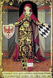 Margarethe Tirol.jpgMargaret, nicknamed Margarete Maultasch (1318 – 3 October 1369), was the last Countess of Tyrol from the House of Gorizia (Meinhardiner). Upon her death, Tyrol became united with the Austrian hereditary lands of the Habsburg dynasty.