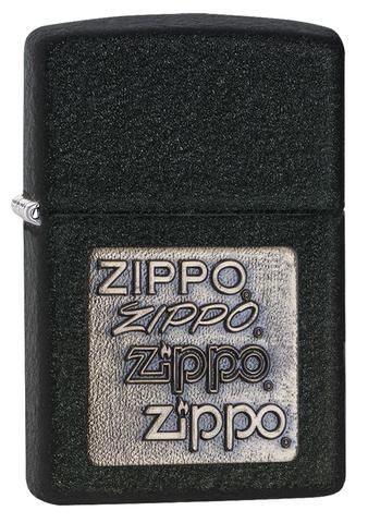 362, Black Crackle Gold Zippo Logo Emblem
