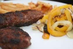 Lamb shish kebab sizzling platter