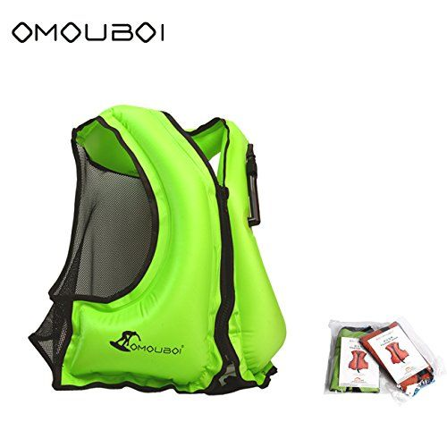 OMOUBOI Unisex Adult Portable Inflatable Canvas Life Jacket Snorkel Vest for Diving Safety /…