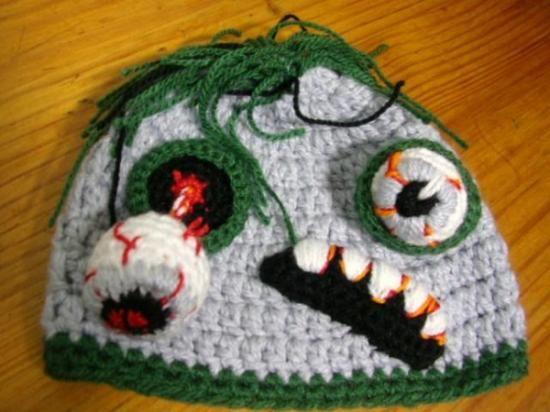 gorro zombie gris - adulto crochet  lana crochet  ganchillo