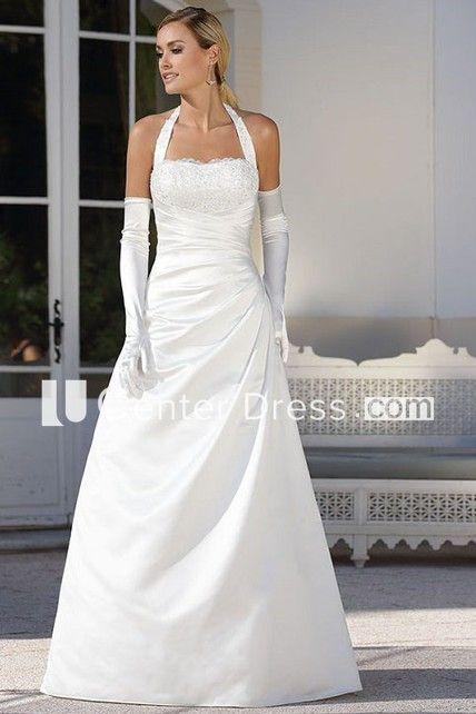 a33592ce3c9 A-Line Floor-Length Side-Draped Halter Sleeveless Satin Wedding Dress With  Beading | my wedding | Pinterest | Satin wedding dresses, Wedding dress and  ...