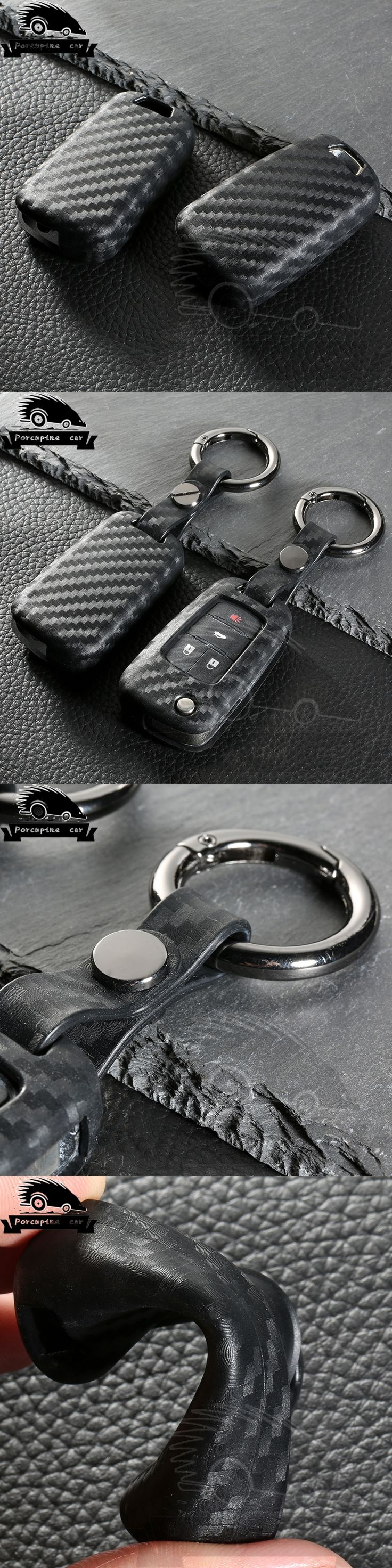 Carbon Fiber Silica gel Car Remote Flip Key Case Cover for Chevrolet Spark Aveo Malibu Cruze Volt Camaro Equinox Sonic Buick