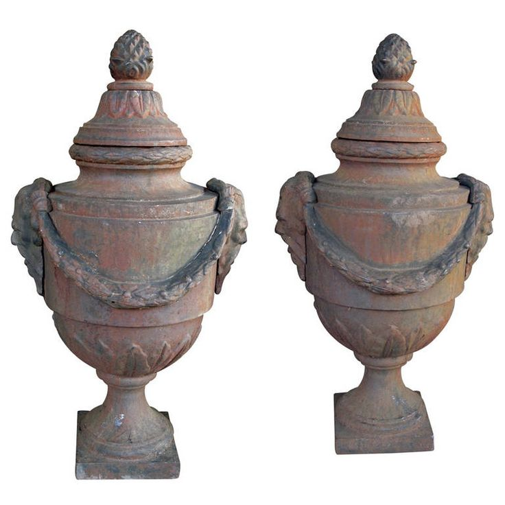Large-Scaled Pair of English Neoclassical Style Covered Iron Bulb Urns | From a unique collection of antique and modern urns at https://www.1stdibs.com/furniture/building-garden/urns/
