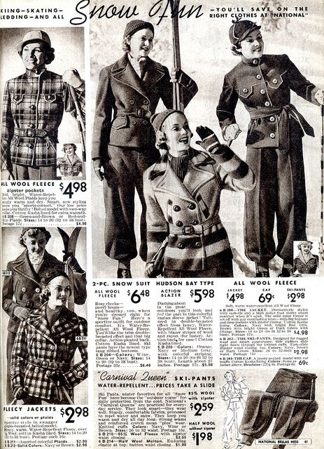 Completely covetable 1930s snow and ski wear. #vintage #1930s #winter #fashion