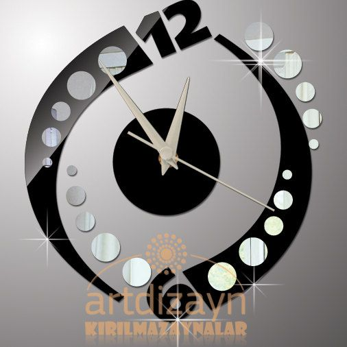 Modern Wall Clock Black And Mirror Home Living By Walldecal76 2900