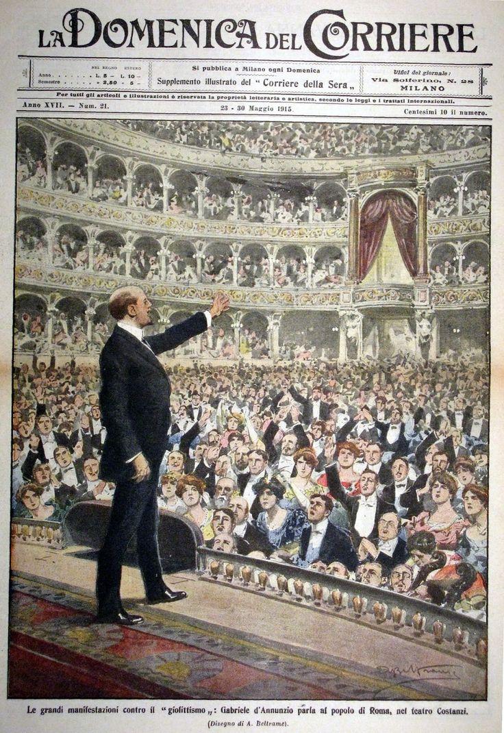 Discorso di D'Annunzio al teatro Costanzi di Roma nel corso della campagna interventista, copertina di Achille Beltrame di La Domenica del Corriere del 23-30 maggio del 1915
