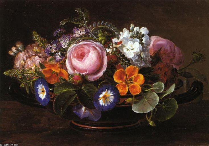 Натюрморт с розовыми пионами и Утренняя слава, масляные краски на панели по Johan Laurentz Jensen (1800-1856, Denmark)