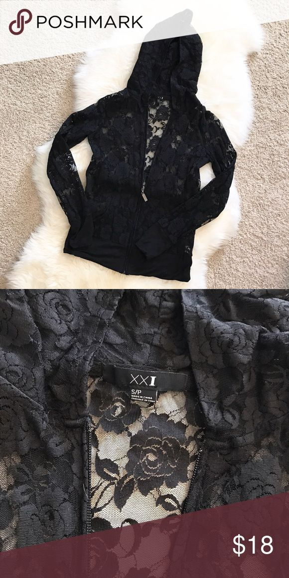 FOREVER 21 women's black lace zip up jacket w/hood Super adorable women's black rose lace zip up jacket with hood. Gently used. In excellent condition. Forever 21 Jackets & Coats
