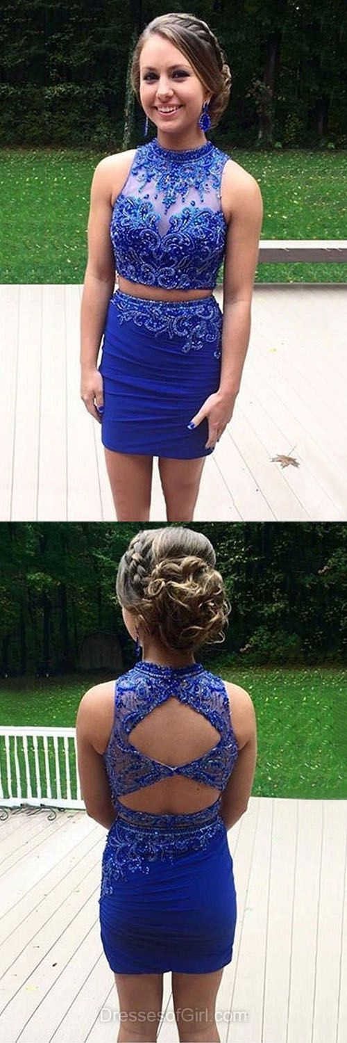 Blue Homecoming Dresses, Beading Prom Dress, Two Piece Cocktail Dresses, Open Back Party Dresses, Sexy Graduation Dresses