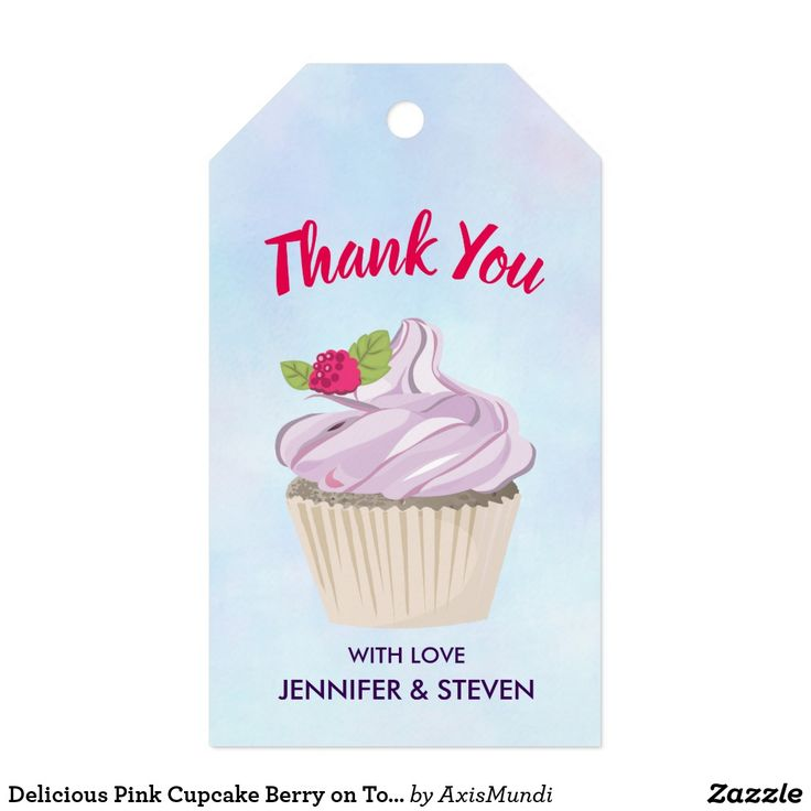 Delicious Pink Cupcake Berry on Top Thank You