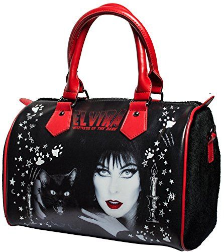 Elvira Black Cat Goth Handbag with Faux Fur