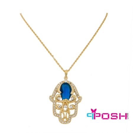 Global Wealth Trade Corporation - FERI POSH  Khamsa Necklace- - Fashion pendant and chain- Large gold toned Khamsa pendant on gold toned chain- White stones around the pendant with blue stone in the middle