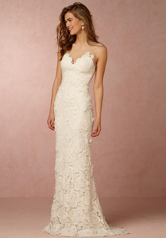 BHLDN gown with sheath silhouette, illusion neckline, and rose embroidery I Style: Jolie Gown I https://www.theknot.com/fashion/jolie-gown-bhldn-wedding-dress?utm_source=pinterest.com&utm_medium=social&utm_content=june2016&utm_campaign=beauty-fashion&utm_simplereach=?sr_share=pinterest