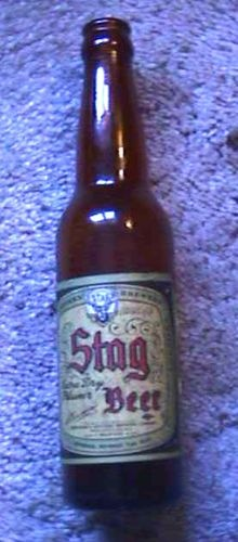 VINTAGE STAG BEER BOTTLE GRIESEDIECK BREWERY BELLEVILLE IL empty  copyright 1936