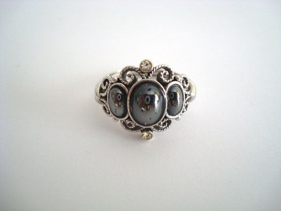Vintage Avon Ring Hematite And Filigree Midnight Splendor