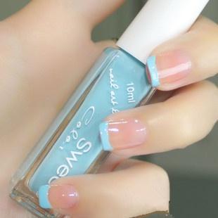 So pretty light blue French mani