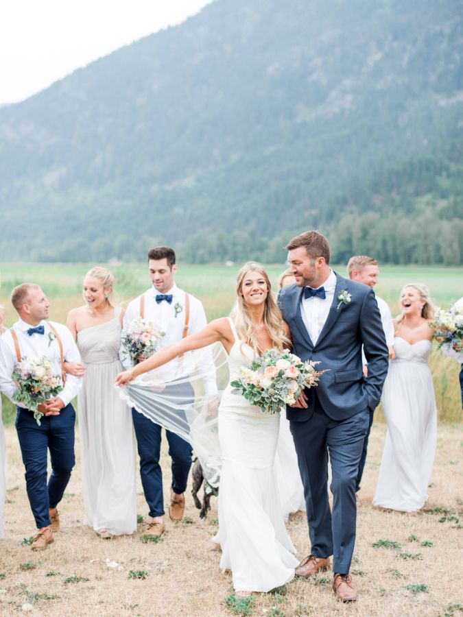 stylish bridal party -- guys in navy pants, bow ties & brown suspenders, girls in light gray
